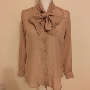 Gap Sexy Librarian Big Bow Neck Blouse M